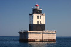 The Poe Reef Lighthouse. On the Straits of Mackinac, Michigan Royalty Free Stock Image