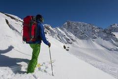 Poeder die met luchtkussen ski?en Royalty-vrije Stock Afbeelding