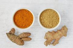 Poeder en wortels van kurkuma en gember royalty-vrije stock afbeelding