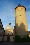 Poedertoren in de vesting Marienberg, Duitsland, Wuerzburg Verticale foto Stock Afbeeldingen