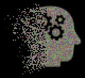 Poeira brilhante Dot Halftone Intellect Gears Icon ilustração royalty free