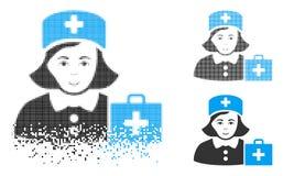 Poeira Dot Halftone First-Aid Nurse Icon com cara ilustração do vetor