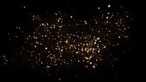 Poeira dourada do brilho no fundo preto Ilustração efervescente do respingo com pó do ouro Efeito mágico de incandescência da név imagem de stock