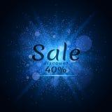 Poeira luminosa azul em um fundo preto Venda de 40 por cento Venda da tampa Ilustração do vetor Imagens de Stock