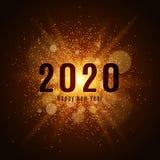 Poeira luminosa do ouro em um fundo preto Ano novo feliz 2020 Tampa para o calendário Ilustração do vetor Imagens de Stock