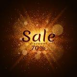 Poeira luminosa dourada em um fundo preto Venda de 70 por cento Venda da tampa Ilustração do vetor Fotos de Stock Royalty Free