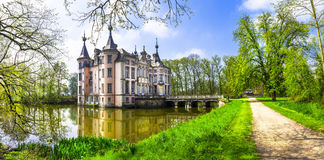 Poeke castle in Belgium. Romantic castles of Europe . Poeke castle in Belgium Royalty Free Stock Image