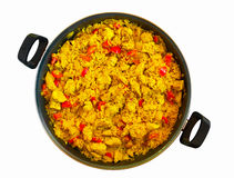 Poella. Paella with chicken in a pan Royalty Free Stock Photography
