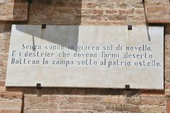 Poem of Giacomo Leopardi on a wall cartel in Recanati. Marche, central Italy Stock Photography