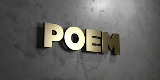 Poem - Gold sign mounted on glossy marble wall  - 3D rendered royalty free stock illustration Stock Photo
