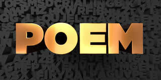 Poem - Gold text on black background - 3D rendered royalty free stock picture Royalty Free Stock Image