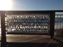 Poem sculpture at sunset Stock Photo