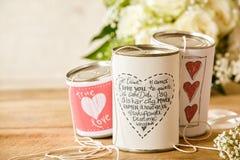 Poema escrito em uma lata do casamento Fotografia de Stock Royalty Free