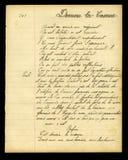 Poema francés manuscrito Imágenes de archivo libres de regalías