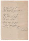 Poema manuscrito en viejo fondo de papel Foto de archivo