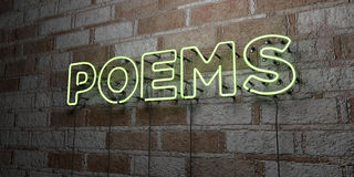 POEMS - Glowing Neon Sign on stonework wall - 3D rendered royalty free stock illustration Royalty Free Stock Photography