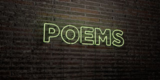 POEMS -Realistic Neon Sign on Brick Wall background - 3D rendered royalty free stock image. Can be used for online banner ads and direct mailers Royalty Free Stock Photo