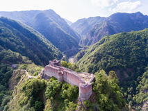 Poenari Fortress, Arges, Romania. Old fortress ruins of one of Vlad Tepes - Vlad the Impaler - strongholds in Transylvania Royalty Free Stock Photo