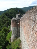 Poenari Fortress. One side, of the still satanding wall, of the Poenari fortress Stock Photos