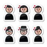 Poeple with hearts, love, valentine's day icons set Royalty Free Stock Photos