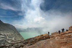 Poeple at Kawah Ijen. This photo shows the condition of Kawah Ijen with some tourist visiting this interesting mountain areas in Bondowoso, East Java, Indonesia Royalty Free Stock Images
