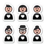 Poeple in love, valentine's day icons set Stock Photography