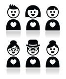 Poeple in love, valentine's day icons set Royalty Free Stock Images