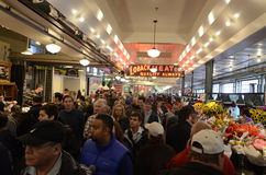 Poeple in Pike Place Market. In Seattle Washington Royalty Free Stock Photography