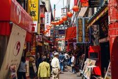 Poeple at restaurant in Yokohama Chinatown. Yokohama, Japan - May 6, 2017: Unidentified people visit Chinese restaurant in Yokohama Chinatown, Here is the stock images