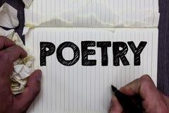 Poesía de la escritura del texto de la escritura Concepto que significa la expresión del trabajo literario de las ideas de las se fotos de archivo