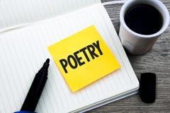 Poesía del texto de la escritura Concepto que significa la expresión del trabajo literario de las ideas de las sensaciones con lo imagen de archivo libre de regalías