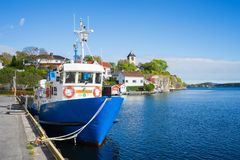 Ferryboat dock at the seaport in Brevik, Norway. Stock Photos