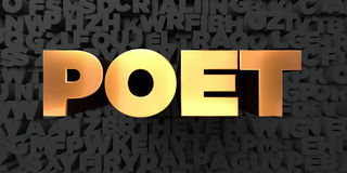Poet - Gold text on black background - 3D rendered royalty free stock picture. This image can be used for an online website banner ad or a print postcard Stock Image