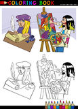 Poet and painter cartoon for coloring. Coloring Book or Page Cartoon Illustration of Poet writting poem and Painter painting Oil Picture Stock Image