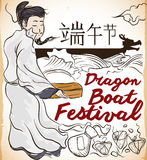 Poet Qu Yuan Staring at the River in Duanwu Festival, Vector Illustration. Commemorative poster for Dragon Boat Festival -or Duanwu, written in Chinese Stock Photography