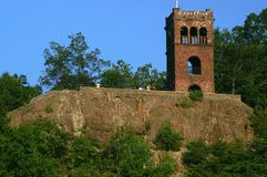 Poet's Seat Tower. Sandstone tower erected 1912 on top a volcanic ledge, commemorates poet Frederick Tuckerman, Greenfield, MA Stock Photo