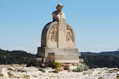 Poet's Statue in France near Château des Baux. The Château des Baux is a fortified castle built during the 10th century, located in Les Baux-de-Provence royalty free stock photography