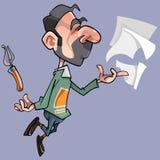 Poeta masculino dos desenhos animados com folhas e pena da pena Foto de Stock Royalty Free