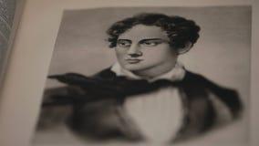 Poeta romántico de Lord Gordon Byron English, retrato almacen de metraje de vídeo