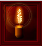 Poetic candle. Candle with a pen, burning like fire,  illustration Stock Image