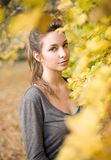 Poetic portrait of beautiful young brunette. Royalty Free Stock Photos