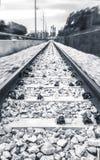 Poetisk ovanlig järnväg i snabb rörelse Fotografering för Bildbyråer