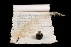 Poetry. On old paper scroll. Text is Shakespeare's Sonnet 18 stock photos
