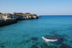 The Poetry. A beautiful stretch of rocky coastline with clear blue waters in Puglia, southern Italy. The area is known by locals as 'The Poetry stock images