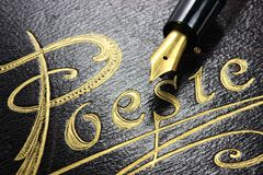 Poetry album. German poetry album with fountain pen royalty free stock image