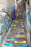Poetry along the stairs in Valparaiso, Chile Stock Photo