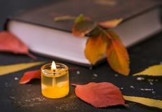 Poetry book with candle. And autumn leaves on black table royalty free stock image