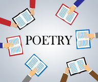 Poetry Books Shows Rhyme Information And Study Stock Images