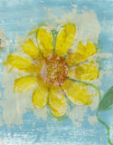 Poetry Flower. Yellow flower collage made with old poetry Royalty Free Stock Image