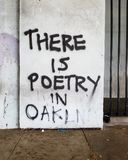 Poetry in oakland. Graffiti mural of Oakland& x27;s poetry royalty free stock photo